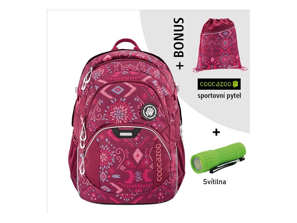 Školní batoh Coocazoo JobJobber2, Tribal Melan  + LED svítilna + Vrecko na prezúvky
