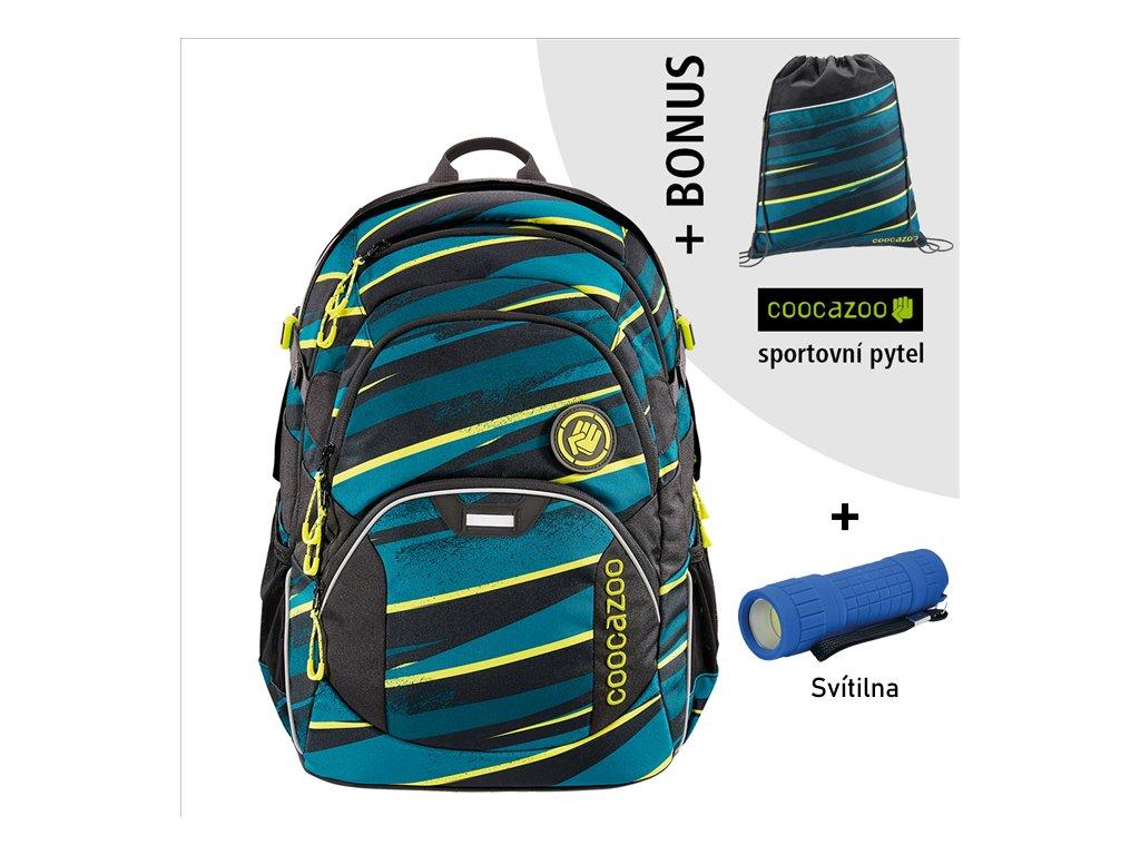 Školní batoh Coocazoo JobJobber2, Wild Stripe  + LED svítilna + Vrecko na prezúvky