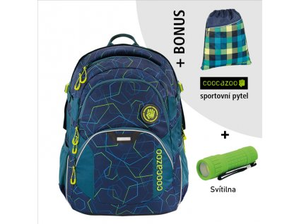 Školní batoh coocazoo JobJobber2, Laserbeam Blue  + LED svítilna + Vrecko na prezúvky