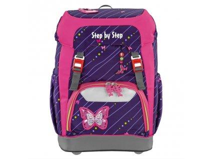 Školní batoh Step by Step GRADE Třpytivý motýl  + LED čelovka + Desky na sešity