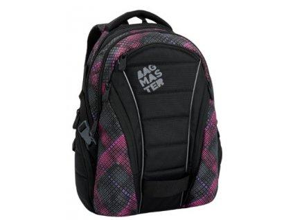 Bagmaster BAG 6 E BLACK/PINK/VIOLET Dívčí studentský batoh  + LED Svítilna