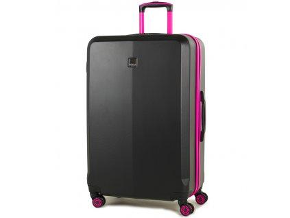 cestovný kufor MEMBER'S TR-0150/3-L ABS - čierna/růžová  + LED svítilna