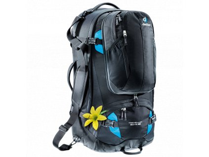 Deuter Traveller 60+10 SL black-turquoise - Batoh  + LED svítilna