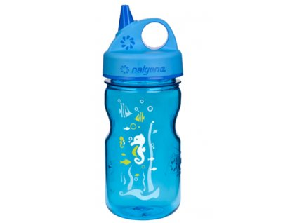 Nalgene Grip-n-Gulp Kids 350 ml Blue Seahorse - láhev pro děti