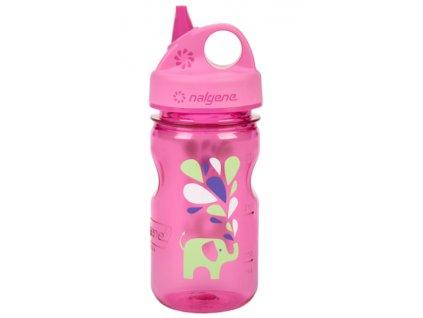 Nalgene Grip-n-Gulp Kids 350 ml Pink/Elephant - láhev pro děti
