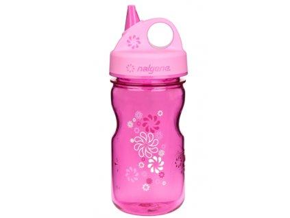 Nalgene Grip-n-Gulp Kids 350 ml Pink/Wheels - láhev pro děti