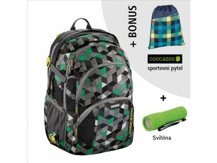 Školní batoh Coocazoo JobJobber2, Crazy Cubes  + LED svítilna + Vrecko na prezúvky