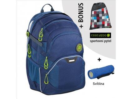 Školní batoh Coocazoo JobJobber2, Solid Seaman  + LED Čelovka 3W + sportovní pytel