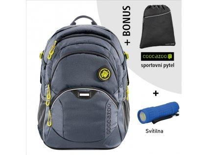 Školní batoh Coocazoo JobJobber2, Solid Shadowman  + LED Čelovka 3W + sportovní pytel