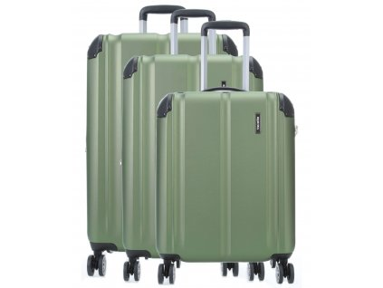 Travelite City 4w S,M,L Green – sada 3 kuforů  + LED svítilna