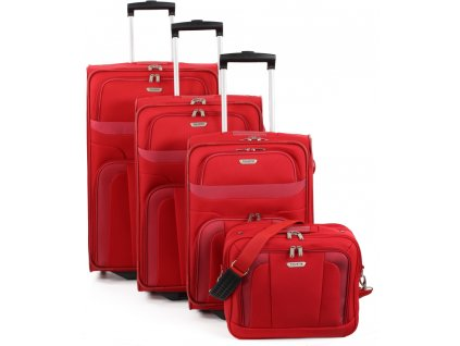 Travelite Orlando S,M,L – sada 3 kuforů + Boarding Bag Red  + LED svítilna