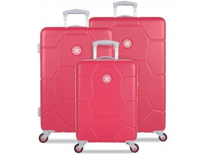 Sada cestovných kuforů SUITSUIT® TR-1247/3 ABS Caretta Teaberry  + LED svítilna