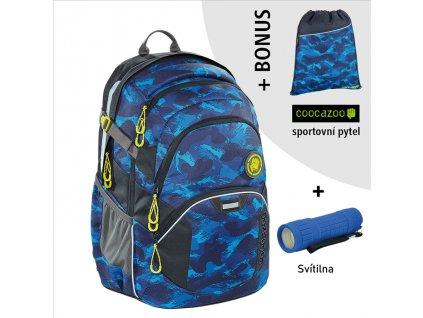 Školní batoh Coocazoo JobJobber2, Brush Camou  + LED svítilna + Vrecko na prezúvky