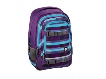 """Školní batoh All Out """"Selby"""", Summer Check Purple  + LED Svítilna"""