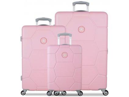 Sada cestovných kuforů SUITSUIT® TR-1231/3 ABS Caretta Pink Lady  + LED svítilna