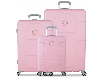 Sada cestovných kuforů SUITSUIT® TR-1231/3 ABS Caretta Pink Lady  + LED Čelovka 3W