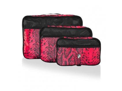 135798 heys exotic packing cube set red python sada 3 ks