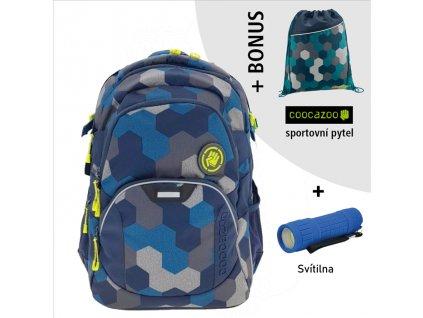 Školní batoh Coocazoo JobJobber2, Blue Geometr  + LED svítilna + Vrecko na prezúvky