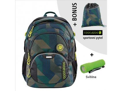 Školní batoh Coocazoo JobJobber2, Polygon Bric  + LED svítilna