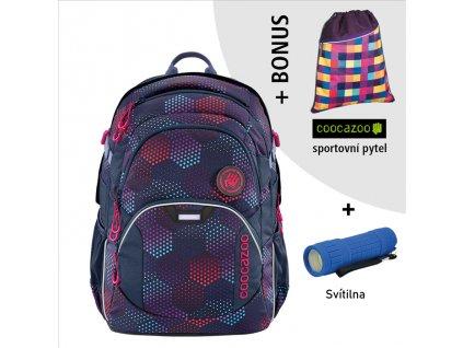 Školní batoh Coocazoo JobJobber2, Purple Illus  + LED Čelovka 3W + sportovní pytel