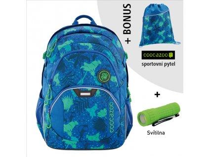 Školní batoh Coocazoo JobJobber2, Tropical Blu  + LED svítilna + Vrecko na prezúvky
