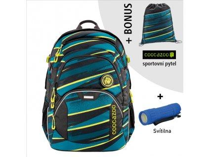 Školní batoh Coocazoo JobJobber2, Wild Stripe  + LED Čelovka 3W + sportovní pytel