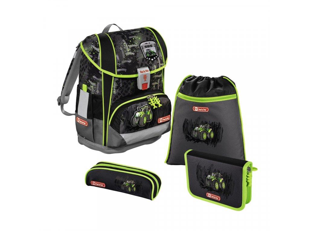 Školní aktovka LIGHT 2 pro prvňáčky - 4-dílný set, Step by Step Traktor, certifikát AGR  + Sluchátka, myš nebo pouzdro