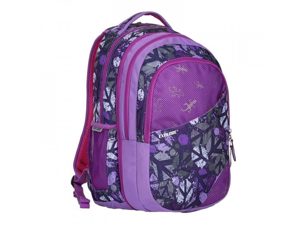 Studentský batoh 2v1 DANIEL Peace purple  + LED svítilna