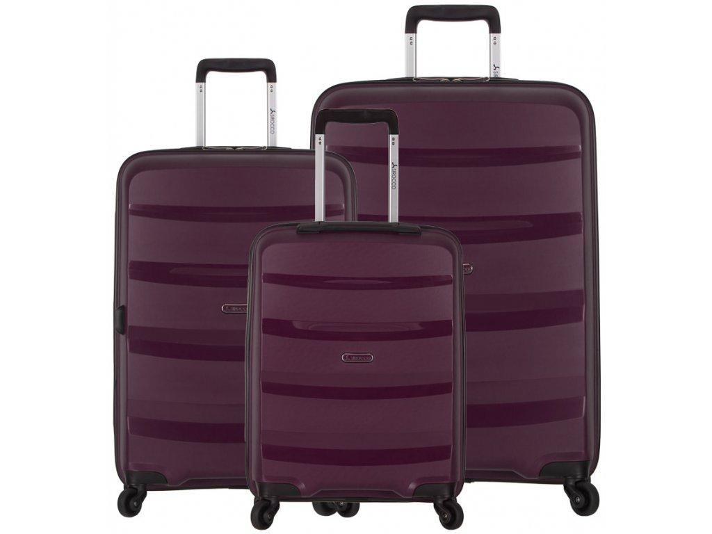 Sada cestovních kufrů SIROCCO T-1208/3 PP - fialová  + LED svítilna