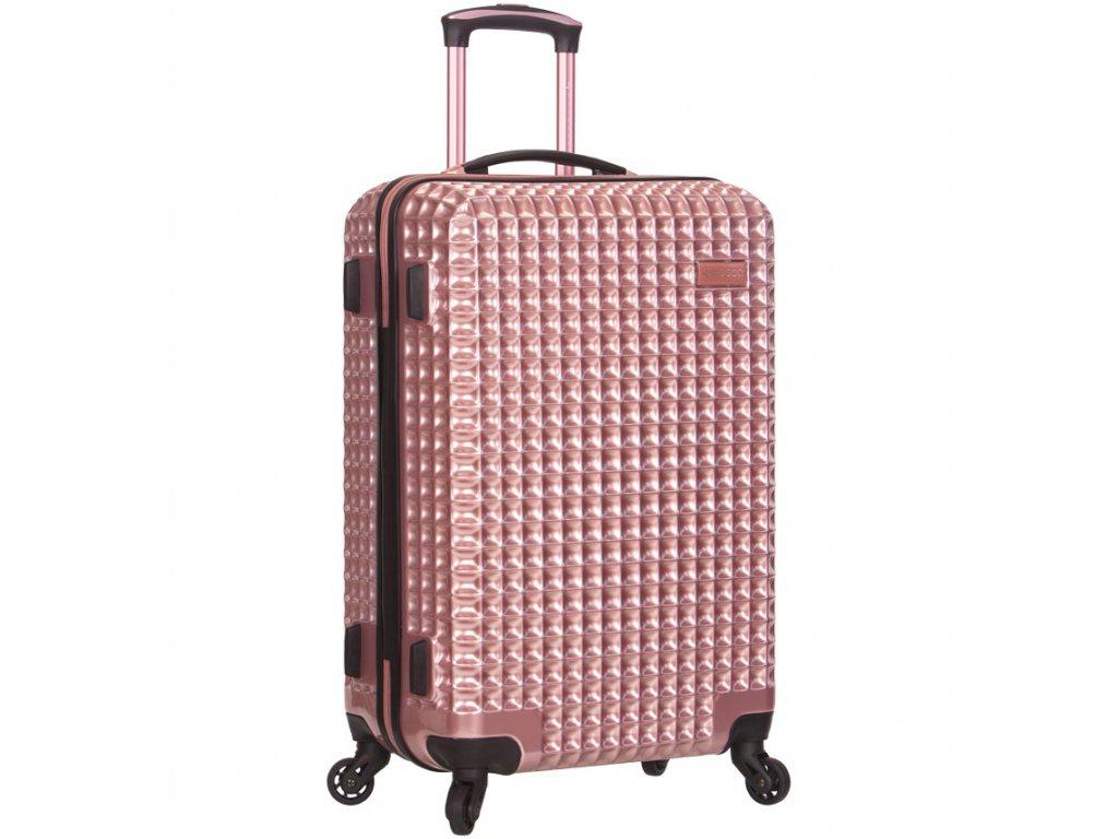 Cestovní kufr SIROCCO T-1195/3-M PC - růžová  + LED svítilna