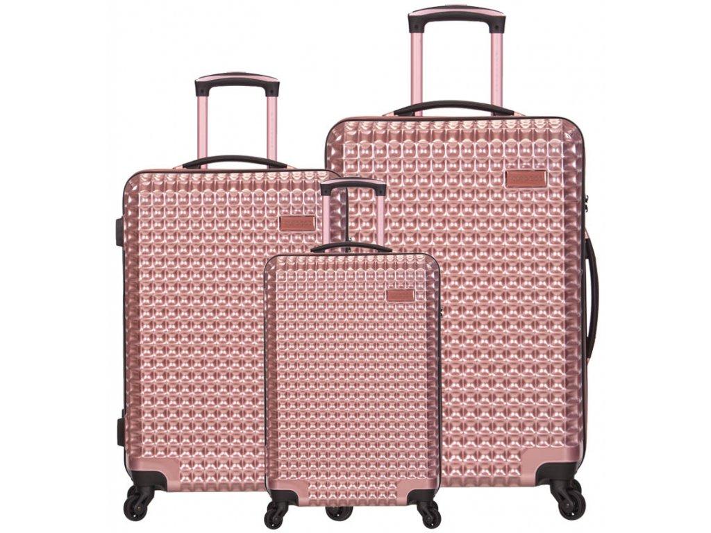 Sada cestovních kufrů SIROCCO T-1195/3 PC - růžová  + LED svítilna