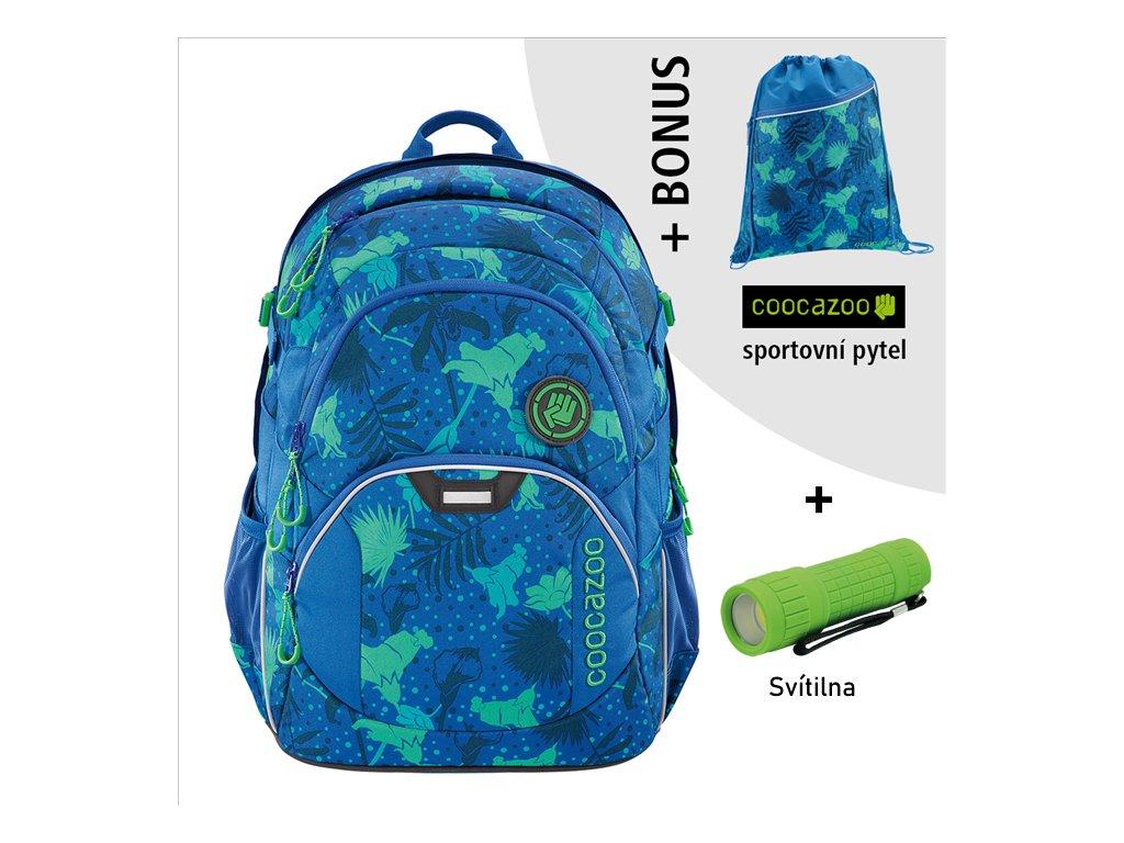 Školní batoh Coocazoo JobJobber2, Tropical Blu  + LED svítilna + sportovní pytel
