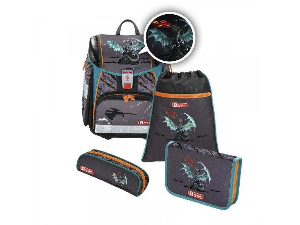 Školní aktovka - 4-dílný set, Step by Step Flash blikačka Drak, certifikát AGR  + 5 % sleva po registraci + LED svítilna