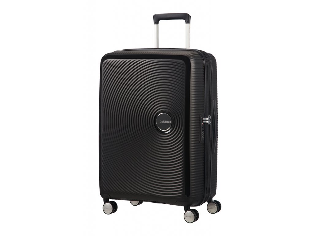 American Tourister SOUNDBOX M 67/24 TSA EXP - BASS BLACK  + LED svítilna
