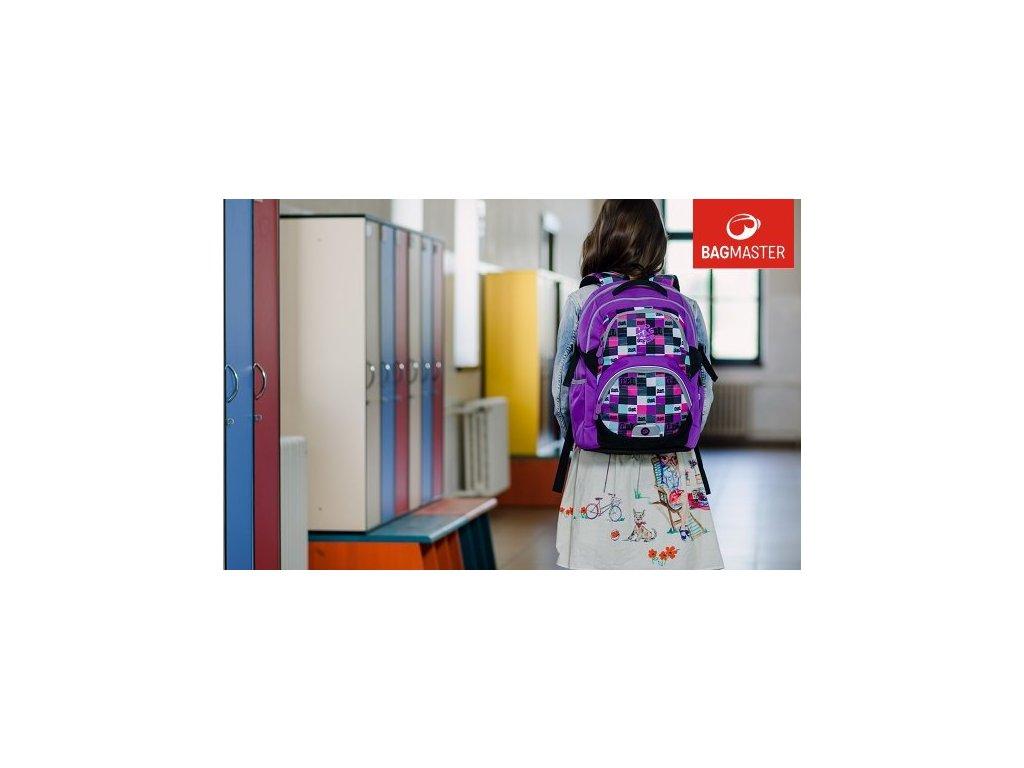 83fa346f77b ... Bagmaster THEORY 6 A VIOLET Dívčí školní batoh pro třetí třídu + LED  svítilna
