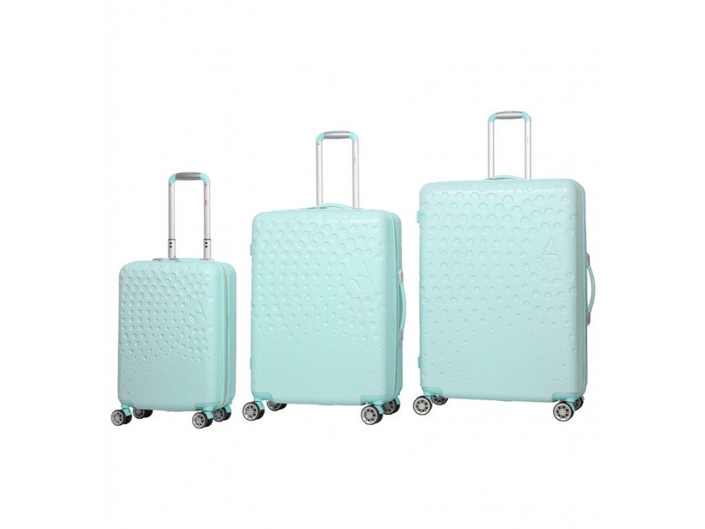 Sada cestovních kufrů AEROLITE T-565/3 ABS - světle zelená  + LED svítilna