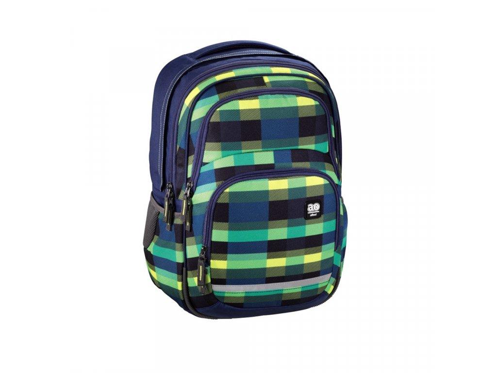 Školní batoh All Out Blaby, Summer Check Green  + LED svítilna