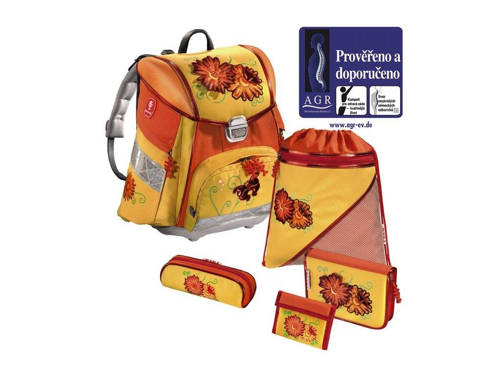 Hama - Školní batoh - set, Step by Step KVĚTINY  + 5 % sleva po registraci + LED svítilna