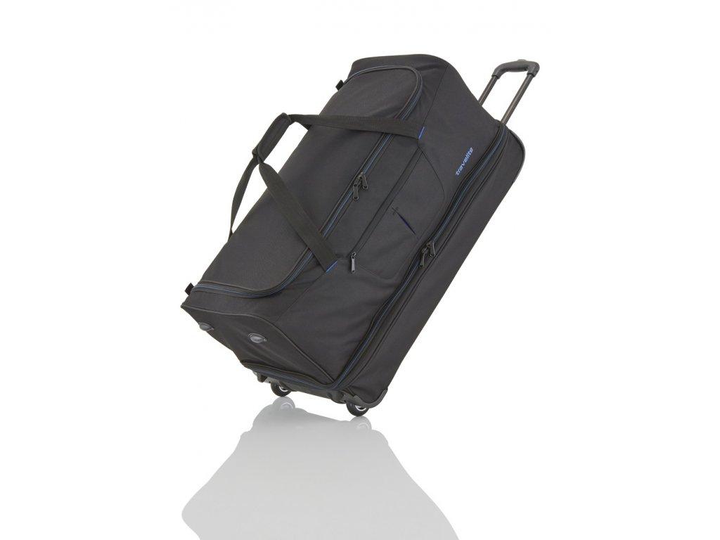 Travelite Basics Wheeled duffle L Black/blue  + LED svítilna
