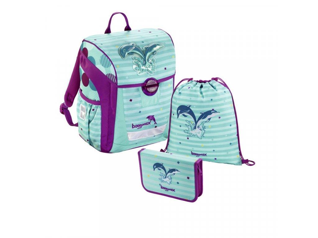 Školní aktovka - 3-dílný set, Baggymax Trikky Delfíni  + LED svítilna