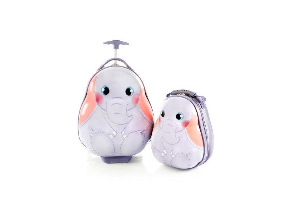 Heys Travel Tots Lightweight Kids Elephant – sada batohu a kufru  + LED svítilna