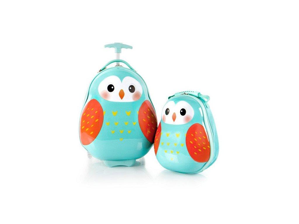Heys Travel Tots Lightweight Kids Owl – sada batohu a kufru  + LED svítilna