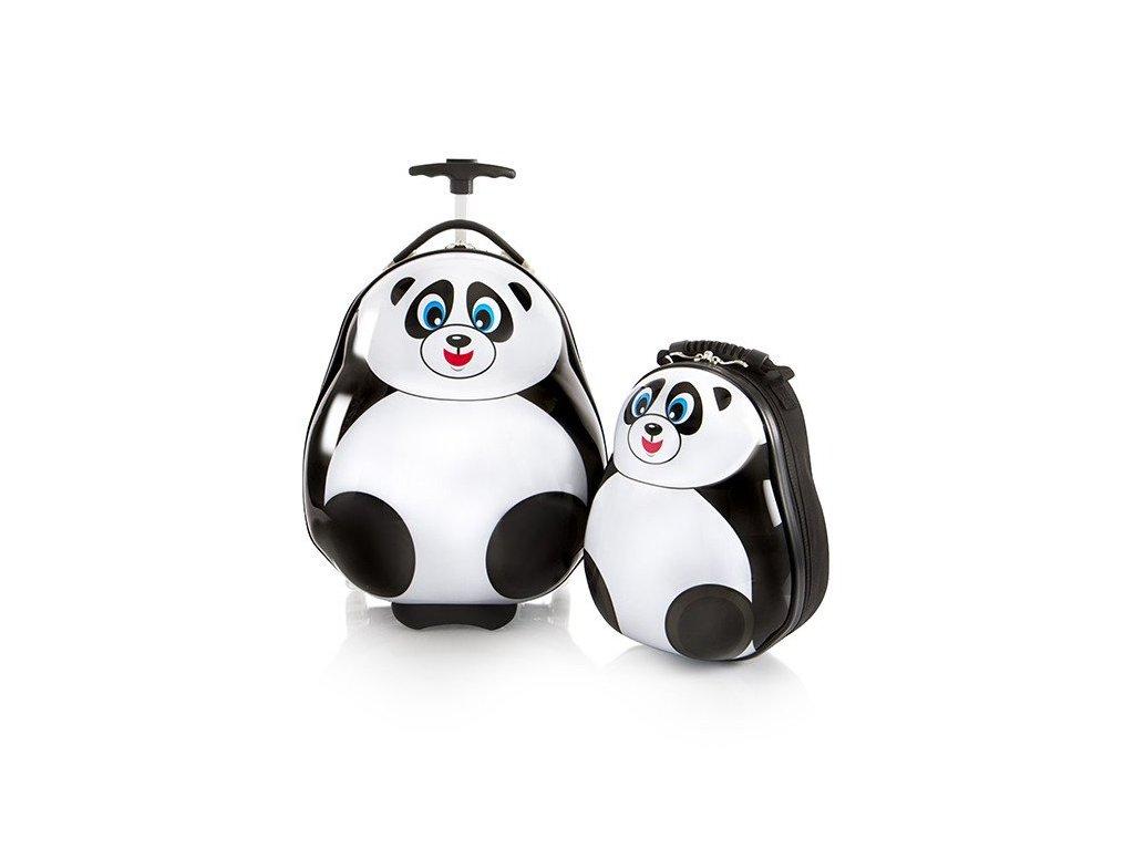 Heys Travel Tots Lightweight Kids Panda – sada batohu a kufru  + LED svítilna