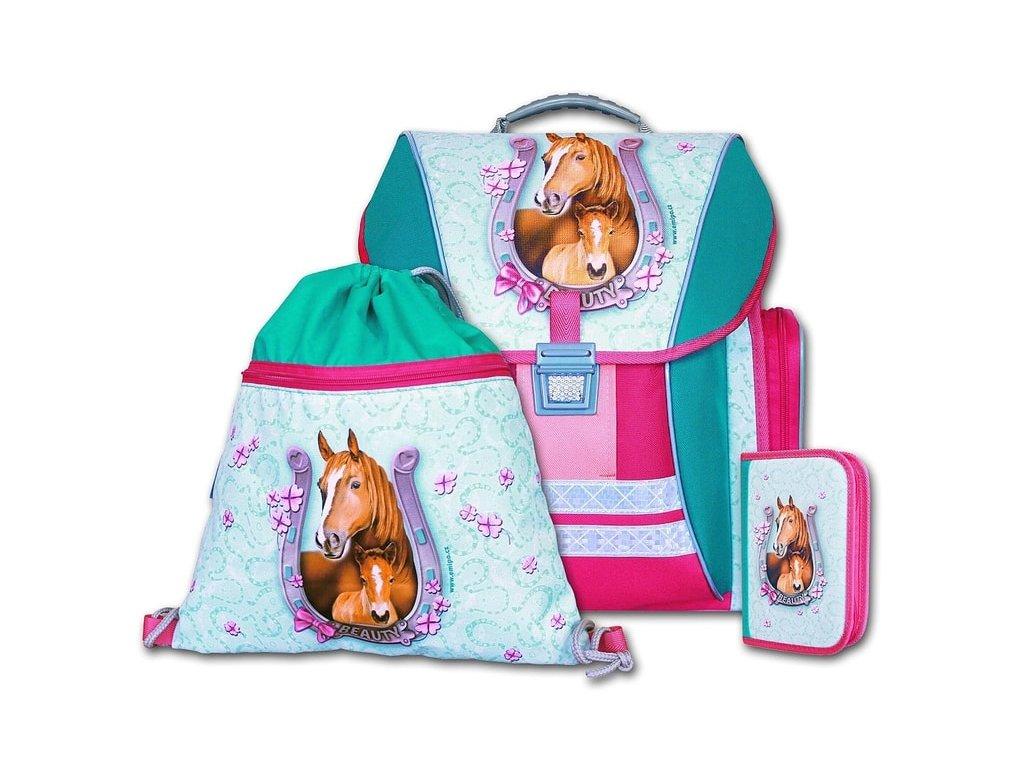 Školní batohový set Beauty 3-dílný  + Sluchátka, myš nebo pouzdro