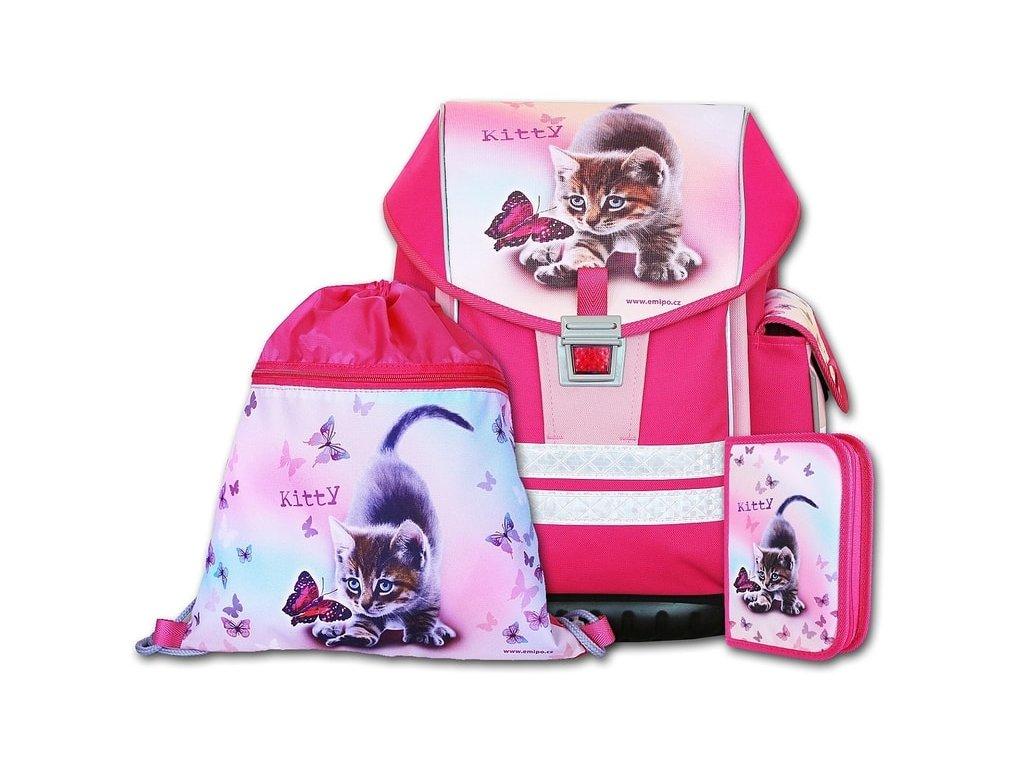 Školní aktovkový set ERGO ONE Kitty 3-dílný  + Sluchátka, myš nebo pouzdro