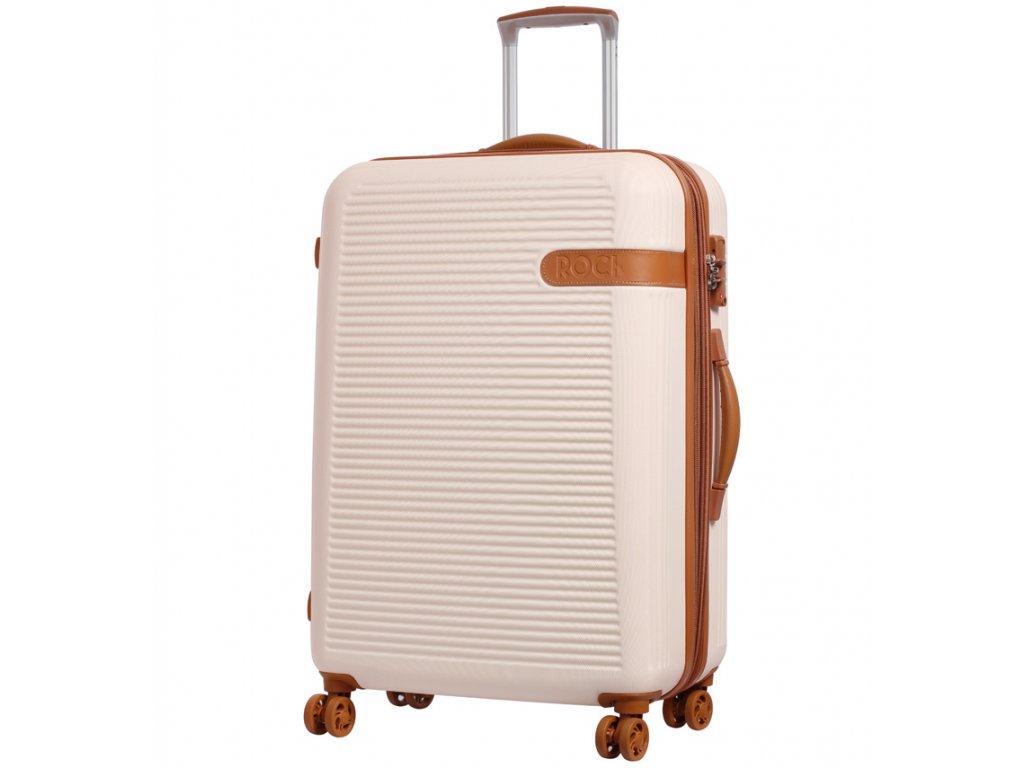 Cestovní kufr ROCK TR-0159/3-L ABS - krémová  + LED svítilna