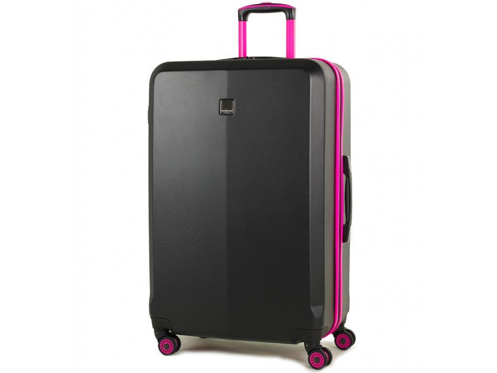 Cestovní kufr MEMBER'S TR-0150/3-L ABS - černá/růžová  + LED svítilna