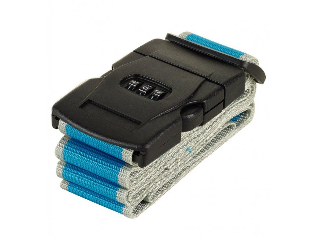 Bezpečnostní popruh na kufr s kódovým zámkem ROCK TA-0012 - modrá/šedá