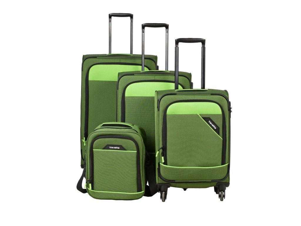 Travelite Derby 4w S,M,L Green – sada 3 kufrů + Board Bag  + LED svítilna