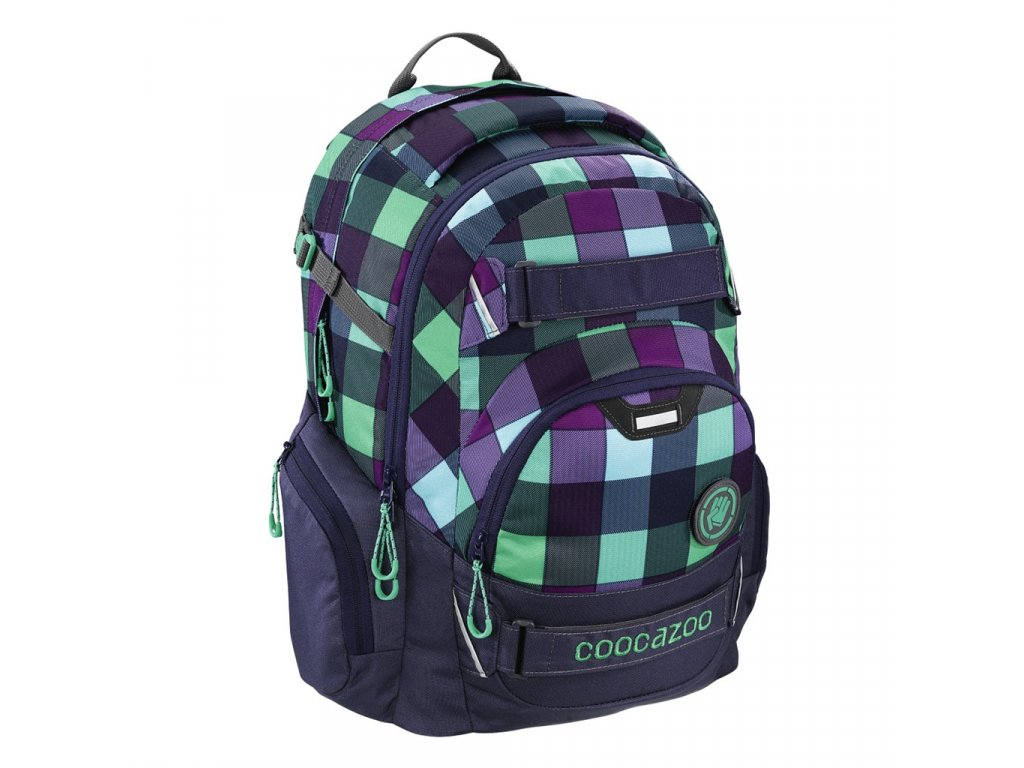 Školní batoh Coocazoo CarryLarry2, Green Purple District  + LED svítilna + zľava 10% s kódom AKCE10